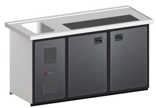 MAXIMAX-Komplett-Kühltheke 1.600 mm 2 Kühlabteile, 1 Becken