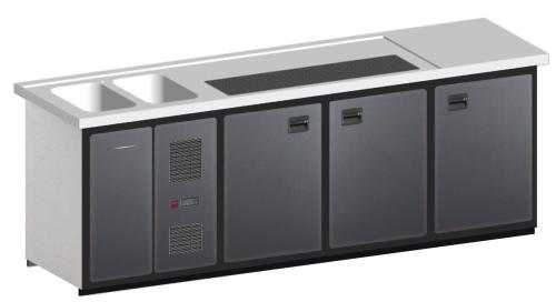 MAXIMAX-Komplett-Kühltheke 2.550 mm 3 Kühlabteile, 2 Becken