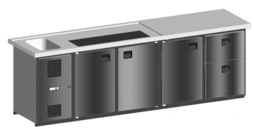 MAXIMAX-Komplett-Kühltheke 2.700 mm 4 Kühlabteile, 1 Becken