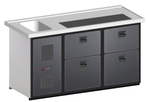 MAXIMAX-Komplett-Kühltheke 1.600 mm, 2 Zugabteile Euro/Liter, 1 Becken
