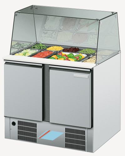 Saladette mit Glasaufbau 2 Türen CHROMOfair