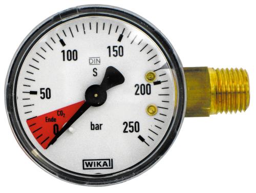 """Inhaltsmanometer mit rotem Bereich für CO2 Ende, Anschluss 1/4"""" AG"""