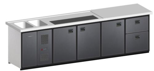 MAXIMAX-Komplett-Kühltheke 3.100 mm 4 Kühlabteile, 2 Becken