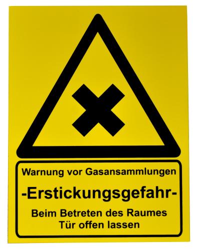 """Schild """"Warnung vor Gasansammlung"""""""